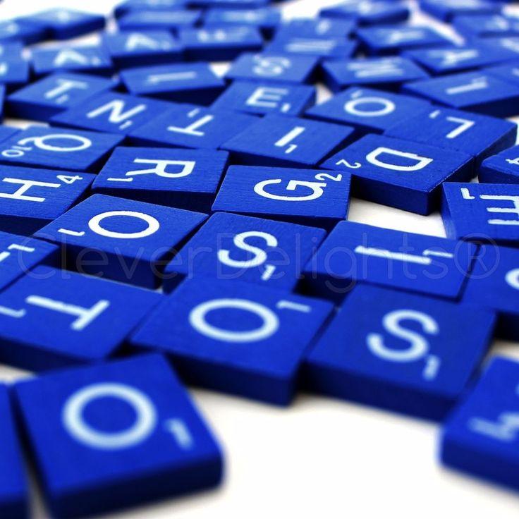 100 Wood Scrabble Tiles - Blue Color - 1 Complete Set - Game Crafts Weddings #NA