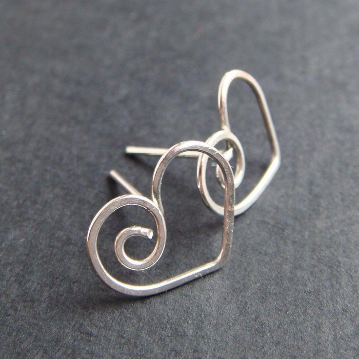 Heart Earrings in Sterling Silver, Love Jewelry, Heart Post Earrings, Handmade Metal Studs by aubepine on Etsy https://www.etsy.com/listing/58409357/heart-earrings-in-sterling-silver-love