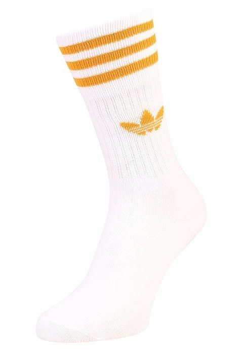 Adidas Originals SOLID CREW 2 PACK - Socks - gray two / white / tactile  yellow