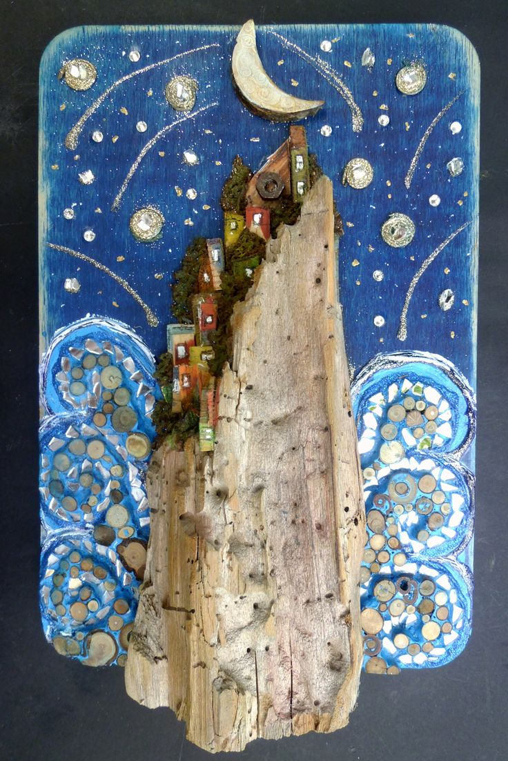 #sea village in a night of shooting stars, mixed media mosaic, see more on https://www.facebook.com/pages/Silvia-Logi-Artworks/121475337893535?fref=photo