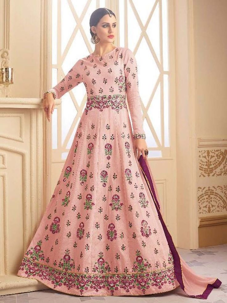 New Indian Floor length Party wear Anarkali Salwar Kameez for women freeship #Handmade #SalwarKameez