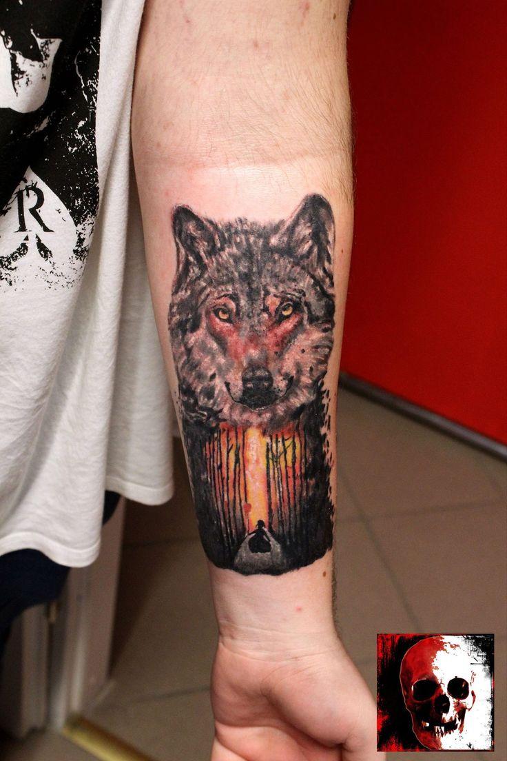 Wolf - forest tattoo