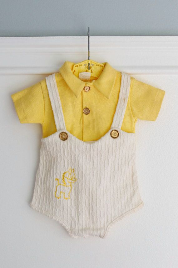 Vintage Baby Boy's Romper Onesie Outfit, Yellow and White Cotton, Pony embroidery, golden buttons, 0-3 months www.etsy.com/shop/Petitpoesy