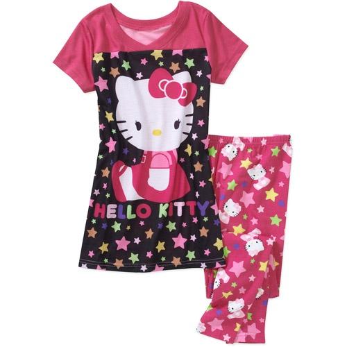 ***Abbi's Jammies***  Hello Kitty Girls' 2-Piece Shirt and Legging Pajama Set