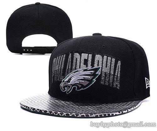 Philadelphia Eagles Snapback Hats Silver Font NFL Logo Caps Black