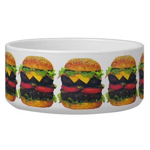 Double Deluxe #Hamburger & Cheese Large #PetBowl #Zazzle #bowl #sold