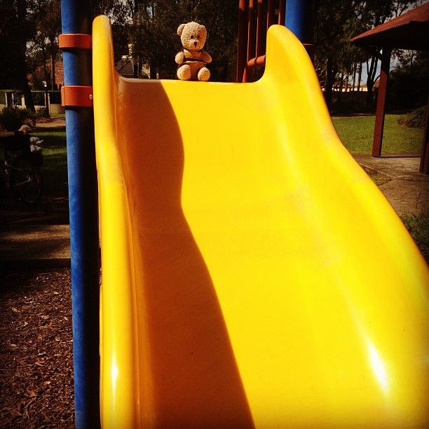 #teddy's #courage outweighs his size. For more #teddybear #adventures, see their blog www.teddybearlife.com #teddy #teddies #bear #slide #park #extremesport #affirmation #socute #softtoy #children #play #playground #bravery