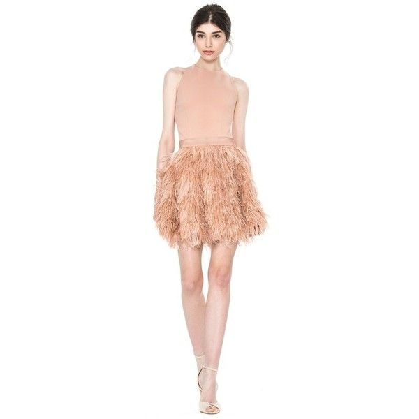 Alice + Olivia Philomena Feather Dress ($895) ❤ liked on Polyvore featuring dresses, neutral, short, feather cocktail dress, sleeveless dress, open back short dresses, going out dresses and short red cocktail dress