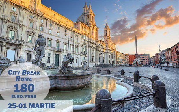 Oferta valabila doar AZI!  Descopera la dolce vita intr-un City Break cu destinatia Roma.  Pachetul include transportul cu avionul si 4 nopti cazare la hotel de 3* cu mic dejun inclus.