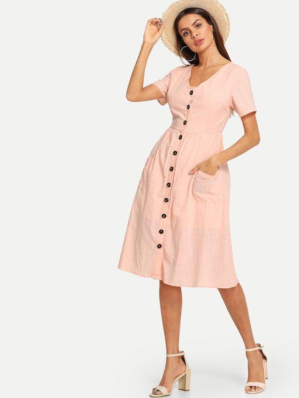 Robe A Col En V Avec Bouton Devant French Shein Sheinside Plunge Dress Dresses Midi Dress