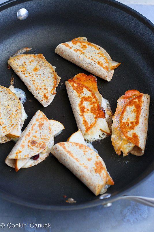Mini Brie & Pear Appetizer Quesadillas Recipe | cookincanuck.com #recipe #vegetarian