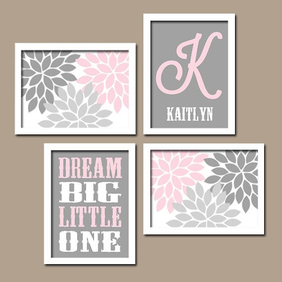 Girl Floral Flower Burst Pink Gray Dream Big Monogram Set of 4 Prints WALL Baby Decor ART Crib NURSERY Child on Etsy, $35.00