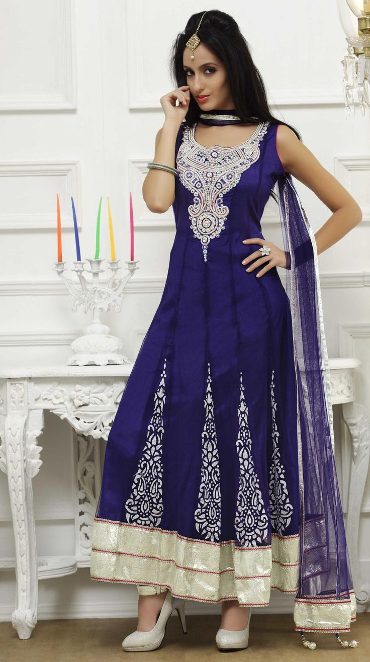 Blue Sleeveless Net Long Anarkali Salwar Kameez 18637