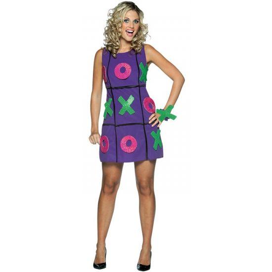Spelletjes verkleedjurk. Dames jurkje waarmee u boter, kaas en eieren kunt spelen. Het jurkje is one size, ongeveer maat S/M.