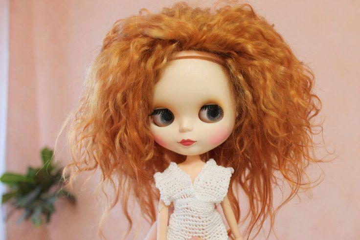 Pre-order Doll mohair weft hair OOAK Custom Blythe mohair natural weft wig scalp custom ooak (color – tobacco)