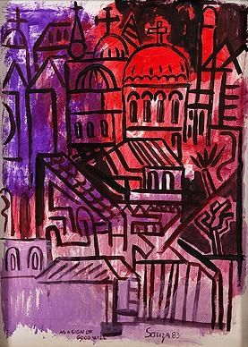 F.N. Souza, Untitled (Townscape with Church)