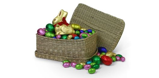 This wicker basket filled with chocolate is practically bursting with eggs and the cutest, tastiest golden chocolate bunny ever!  Have it delivered this Easter at no extra cost, anywhere in Australia, from Gift It Now!