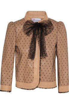 RED Valentino leather and tulle jacket polka dot tulle leather jacket