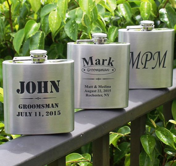 Personalized Silver Flask Groomsmen gift by MyPersonalMemories