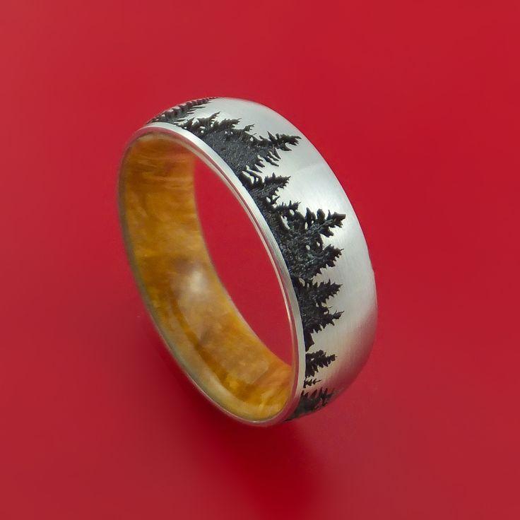 Titanium Ring with Tree Design and Box Elder Burl Hardwood Sleeve Custom Made Band