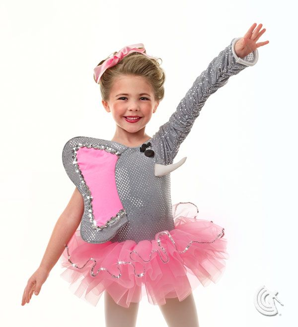 Curtain Call Costumes® - Elephant Walk Grey stretch mini reflection poly/spandex and nylon/spandex leotard with sequin and spangle trim. Attached tricot tutu with sequin trim, and elephant ear and trunk sleeve detail. INCLUDES: ribbon headdress.Troupe price: $65 AUD - $70 AUD