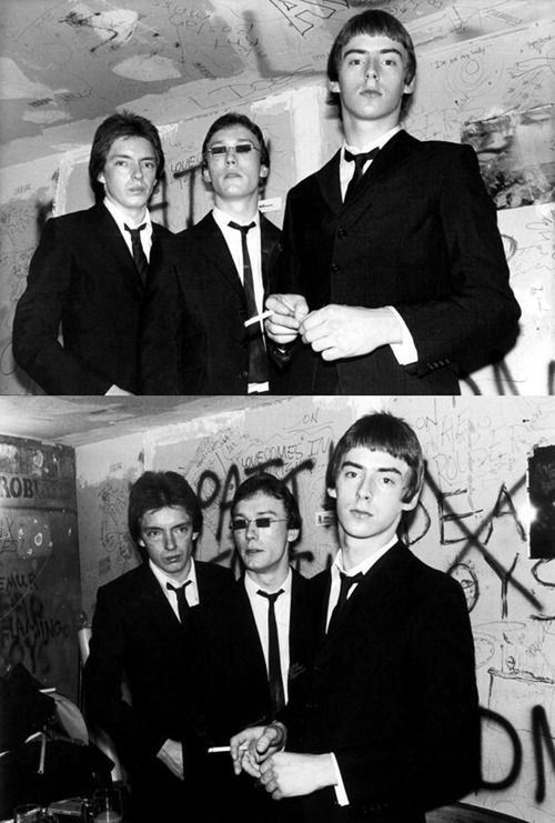 The Jam backstage at CBGBs, 1977. Photos by Ebet Roberts.