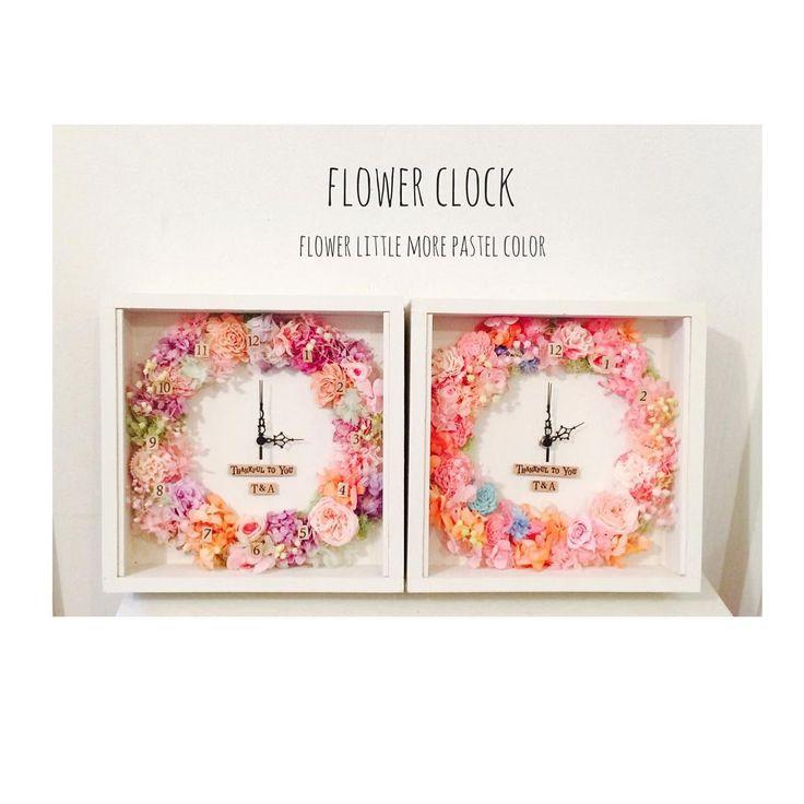 , konomaeのdelivery お花多めの時計がちょっと注文続きました(=´∀`) かわいい!! 色違いでお作りさせて頂きました ご注文ありがとうございました , #Wedding#notarina #ご両親用プレゼント #お花多めの時計 #パステルカラー