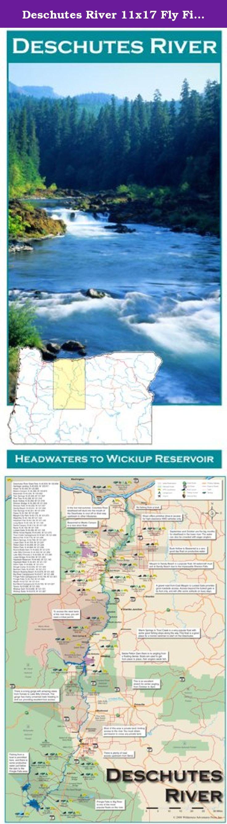 Deschutes River 11x17 Fly Fishing Map Map