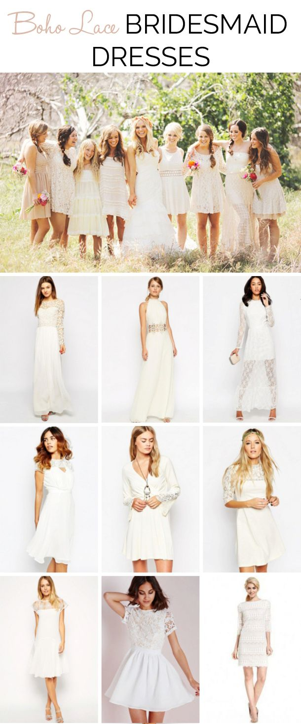 Boho Lace Bridesmaid Dresses | SouthBound Bride www.southboundbride.com/bridesmaid-boutique-white-lace-boho-bridesmaid-dresses Top image: Priscila Valentina Photography via Green Wedding Shoes
