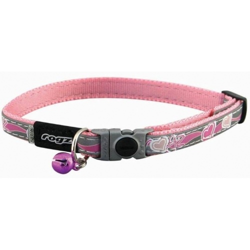 ROGZ Night Cat- Breakaway safety buckle, glow in the dark, reflective material, safety elastic, on size fits all, contoured plastic components, quality and signature style.