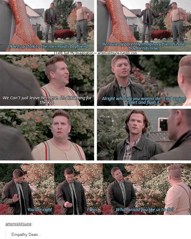 "11x08 Just My Imagination [gifset] - ""Because apparently imaginary friends have boyfriends now."" - Sully, Sam & Dean Winchester; Supernatural - Empathy Dean!"