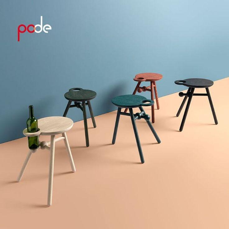 Bottle stool van Pode  De Bottle Stool, ontworpen door Kranen/Gille was eigenlijk al bij de introductie een classic. Het is een wijnfleshouder, krukje, kaasplateau en bovenal een tafeltje dat elke blik naar zich toetrekt. De Bottle Stool is handig en mobiel, doordat de 'ring' die de wijnfles vasthoudt, ook dienstdoet als handgreep. Het aantal functies dat Jos Kranen en Johannes Gille in één ontwerp hebben weten te vangen, is indrukwekkend.