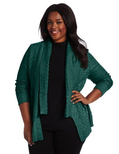 NY Collection Women's Plus-Size Long Sleeve Open Front Cardigan, Royal Green, 1X $60.00 #NYCollection #curvy #black