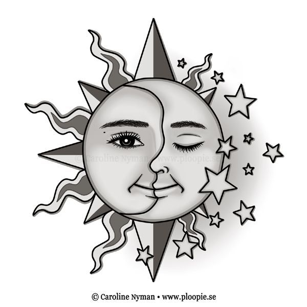 Image Result For Half Moon Half Sun Face Moon Tattoo Sun And Moon Drawings Easy Drawings