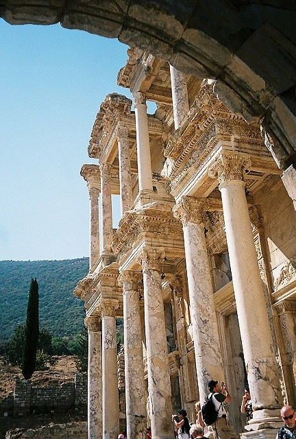 Turkey - Ephesus.  Facts about Turkey: Area: 779,452 sq km. Straddles two continents; 3% in Europe (Thrace), 97% in Asia (Anatolia). Also controls the Bosphorus Strait and the Dardanelles, vital sea links between the Black Sea and the Mediterranean. Its strategic position has made the area of prime importance throughout history. Population: 75,705,147. Capital: Ankara. Official language: Turkish. Languages: 45