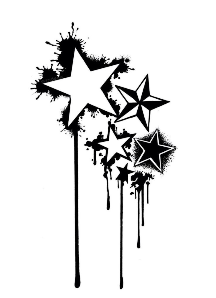 Paint splatter idea for star tattoo