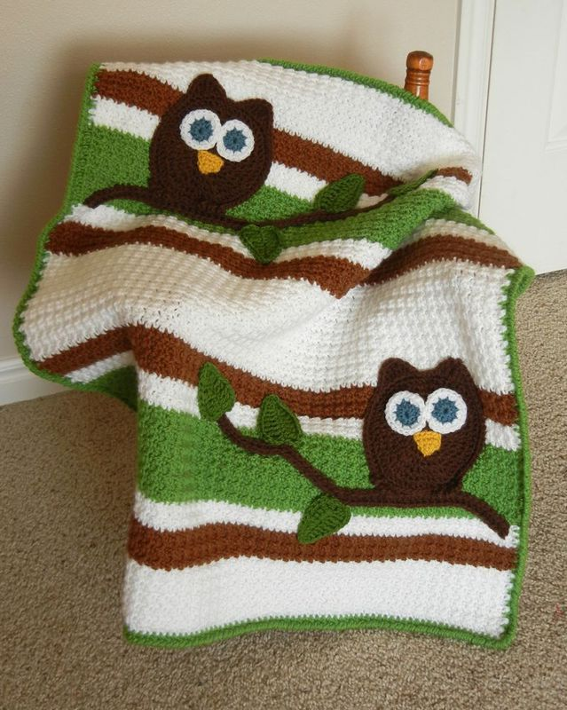 Owl Baby Blanket White Fern Green and Toffee Brown - product image
