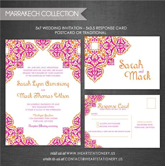 Wedding Invitation and RSVP  Moroccan by iheartstationeryshop, $36.00