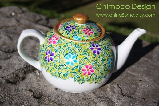 Hand-painted and drawn glass and ceramic pieces by Sydney-based Chimoco Design. www.china86mc.etsy.com #Chimoco Design # teapot #flower #gift #request #ceramic #kitchen #home decor #garden #floral