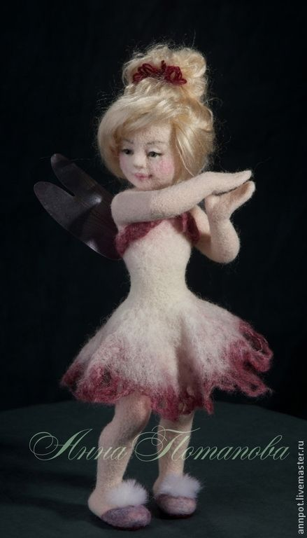 Авторская войлочная кукла Феечка Малиновый сироп - розовый,малиновый,фея