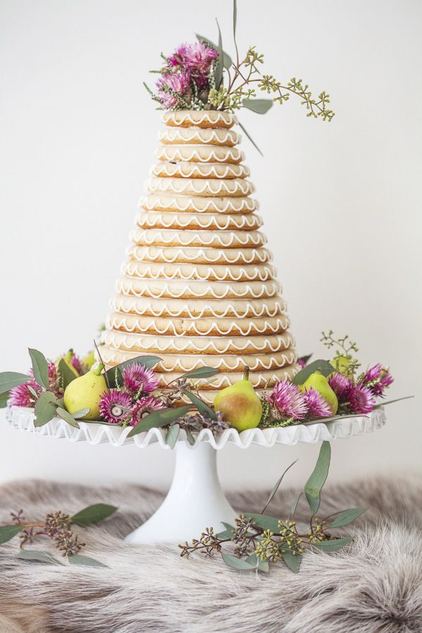 Sydney-based wedding cake extraordinaire Faye Cahill and her sister Maree, share with us the Norwegian Kransekake (wreath cake) recipe they baked and decorated for Faye's wedding