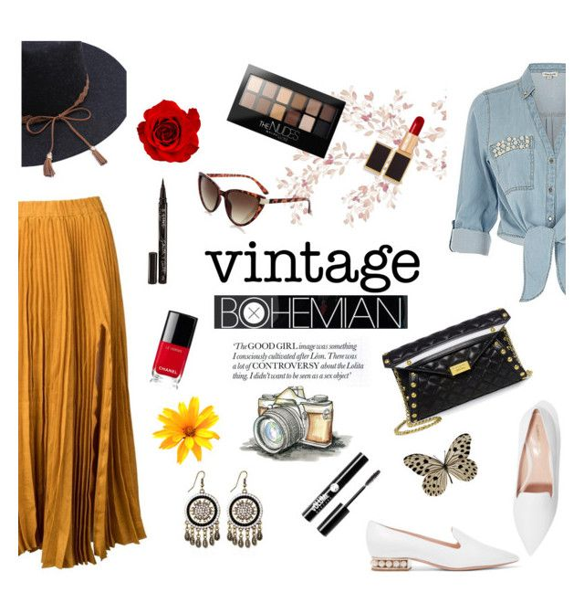 """""""Vintage Bohemian"""" by ravenclaw-phoenix ❤ liked on Polyvore featuring Kaelen, ZAK, Nicholas Kirkwood, Boutique Moschino, Topshop, Chanel, Tom Ford, Charlotte Russe, Smith & Cult and Maybelline"""