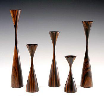 Rude Osolnik, Five Candlesticks, 1988, mascassar ebony,woodturning. Smithsonian American Art Museum,