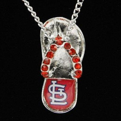 St. Louis Cardinals Crystal Flip Flop Necklace