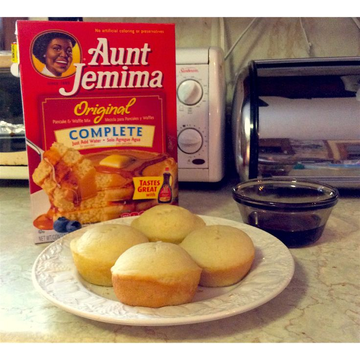 "Aunt Jemima Pancake Muffins ""Hannah Style"": 1) Preheat over to 350 2) Make the batter as usual makes about 16 muffins; instructions are on box 3) Lightly coat the muffin tin with vegetable  oil spry or other nonstick pan 4) Pour batter into muffin tin and if you want them to be even better add things such as blueberries or chocolate chips 5) Cook them for 15 minutes and cool for a little bit 6) Eat them up before they are all gone!"