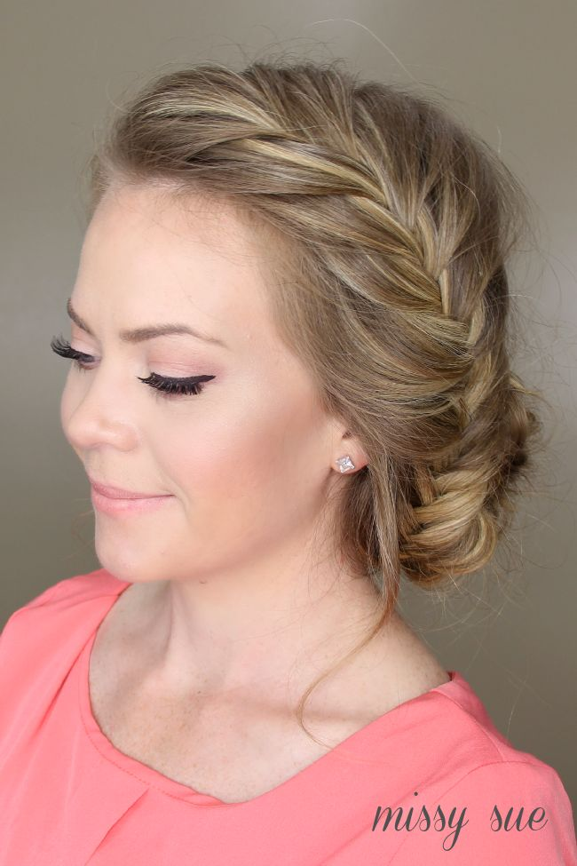 Fishtail French Braid Braided Bun hairstyle