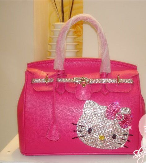 Swarovski Crystal Bling Hello Kitty PINK handbag Purse (omg omg omg omg I NEEEEED this!!!!!!!)