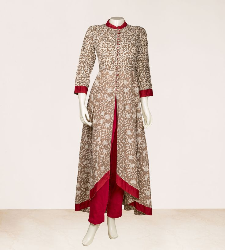 Hand Block Printed Beige / Maroon Soild Trim on Neck Sleeves and  Hem Up-Down Kurta Dress Kurta :- Cotton Pants :- Cotton Collar Neck, 3/4 Sleeves