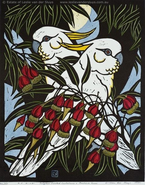 Sulphur Crested Cockatoos and Fuschia Gum by Leslie Vander Sluys