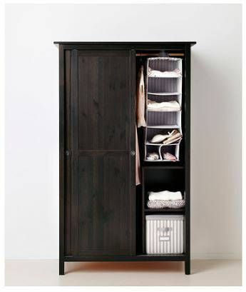 Ikea Hemnes black/brown Wardrobe w/ 2 sliding doors